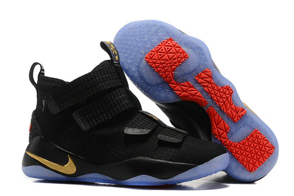 Cheap Lebron Soldier Nike Lebron Soldier 11 Gold Black Blue Red On VaporMaxRunning