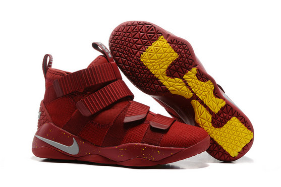 Cheap Lebron Soldier Nike Lebron Soldier 11 Yellow Grey Wine Red On VaporMaxRunning