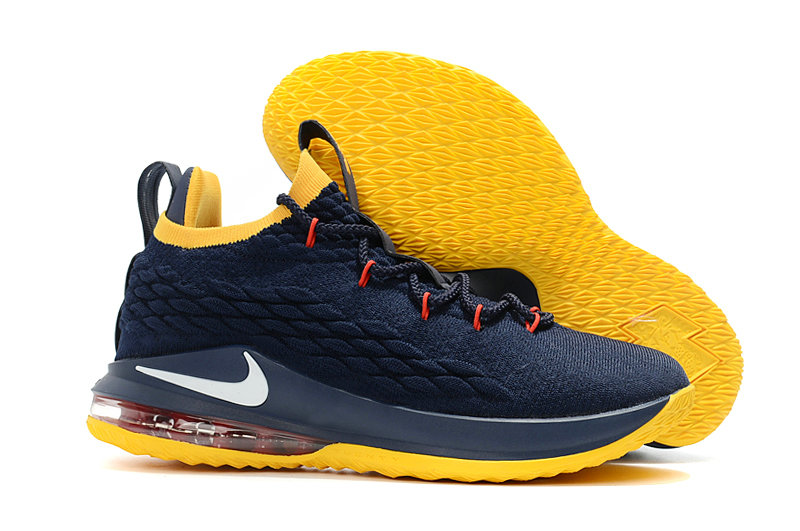 Cheap Lebrons Nike Lebron 15 Low Navy Blue Yellow White Red On VaporMaxRunning