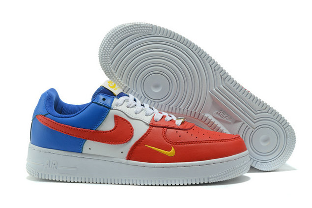 Cheap Nike AF1 Mens Nike Air Force One Blue Red White Yellow On VaporMaxRunning