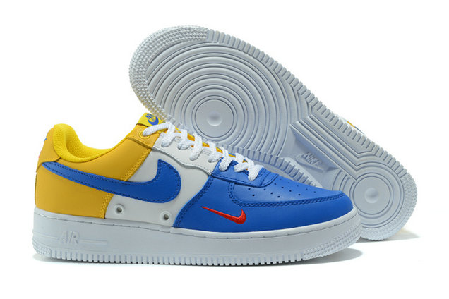 Cheap Nike AF1 Mens Nike Air Force One Yellow White Blue On VaporMaxRunning