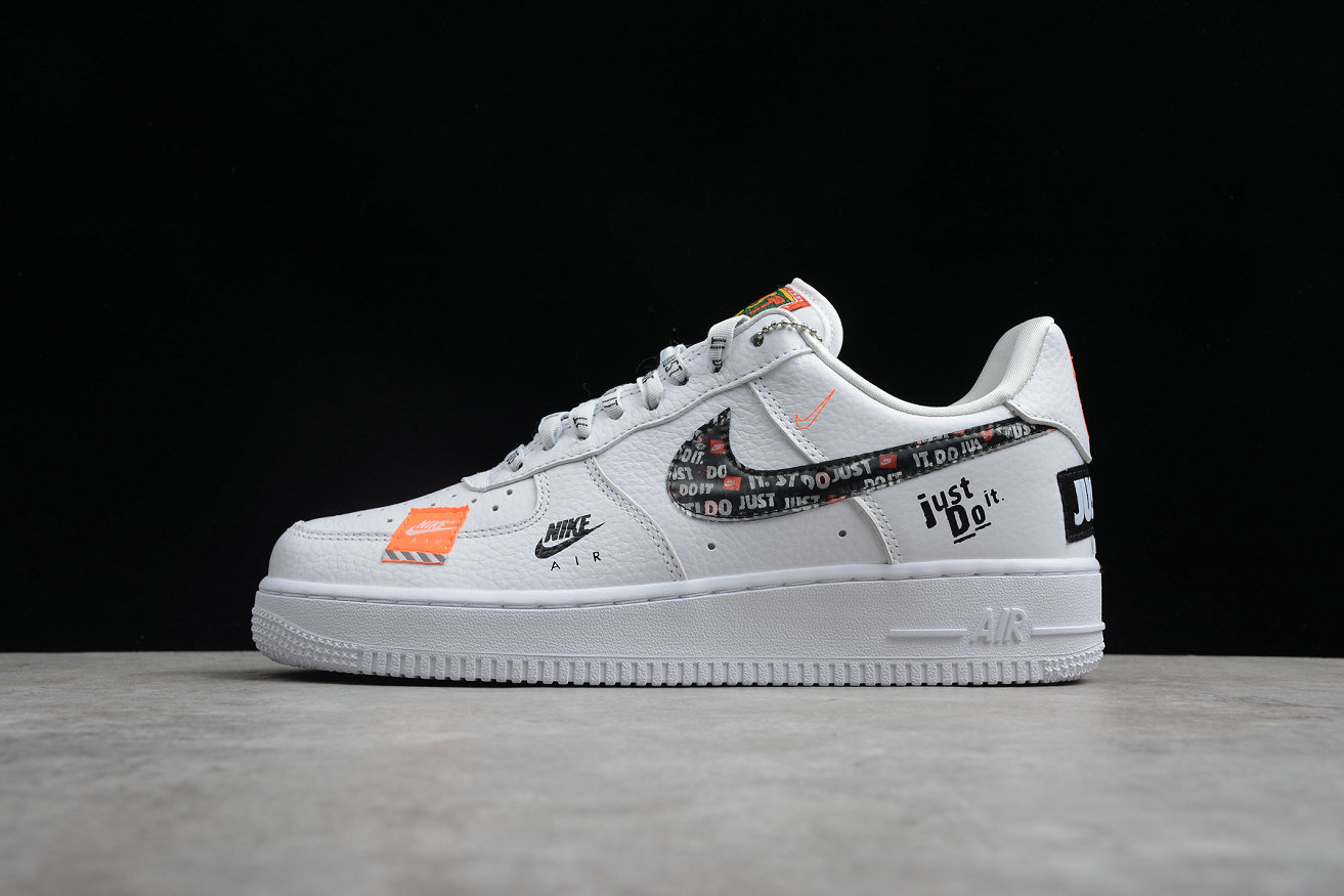 Cheap Nike Air Force 1 AR7719-100 Just DO It White Orange