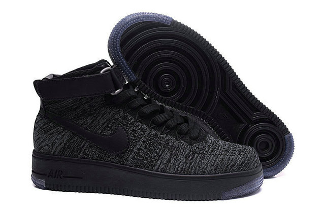 Cheap Nike Air Force 1 Flyknit High Mens Black Grey On VaporMaxRunning