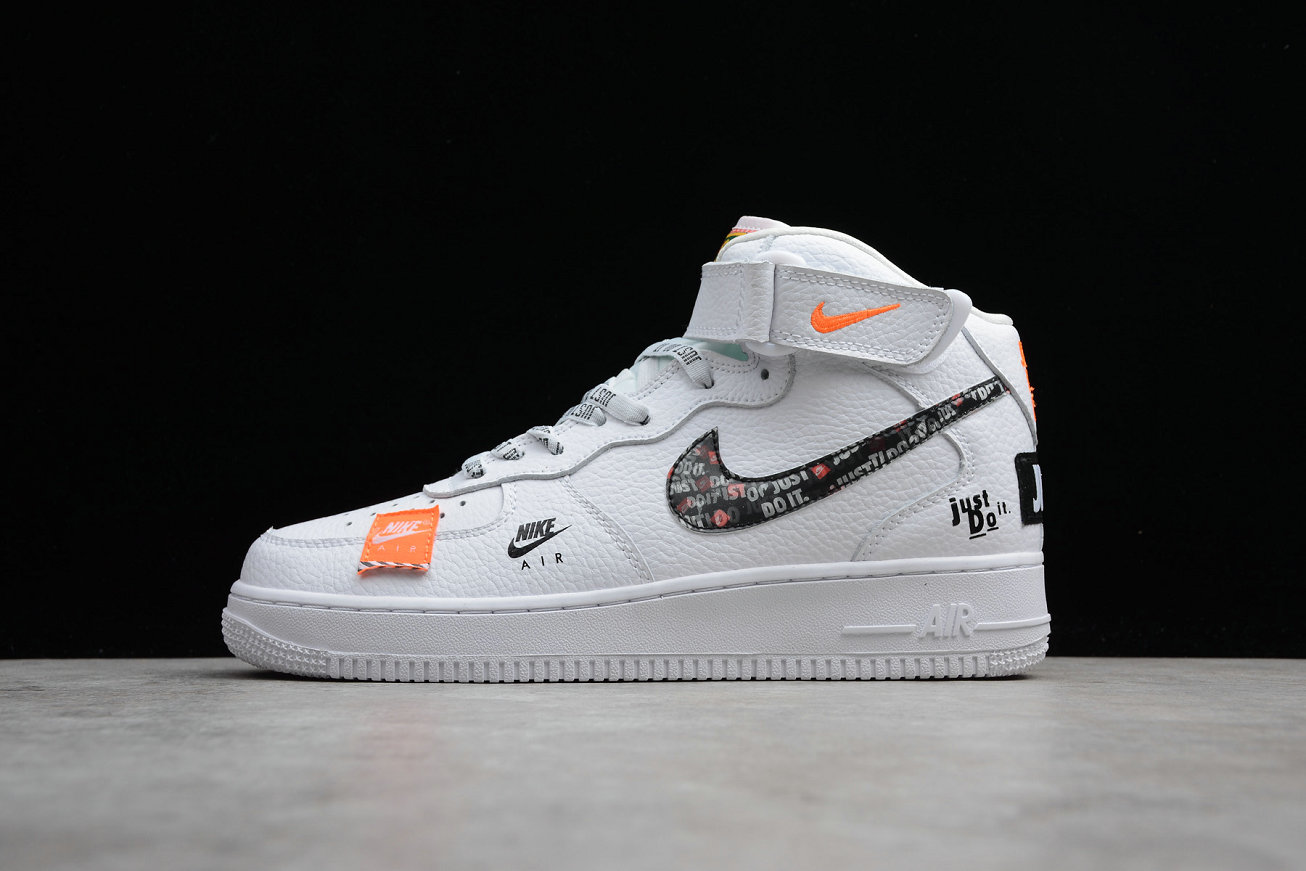 Cheap Nike Air Force 1 Mid Retro BQ6474-100 White Orange Joint Name Blanc Orange Nom Commun