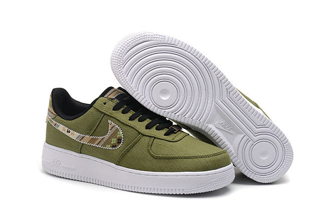 Cheap Nike Air Force One Nike AF1 07 Womens Army Green Black Gold White On VaporMaxRunning