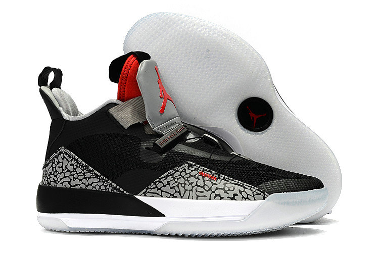 Cheap Nike Air Jordan 33 Black Cement Elephant Print For Sale On VaporMaxRunning