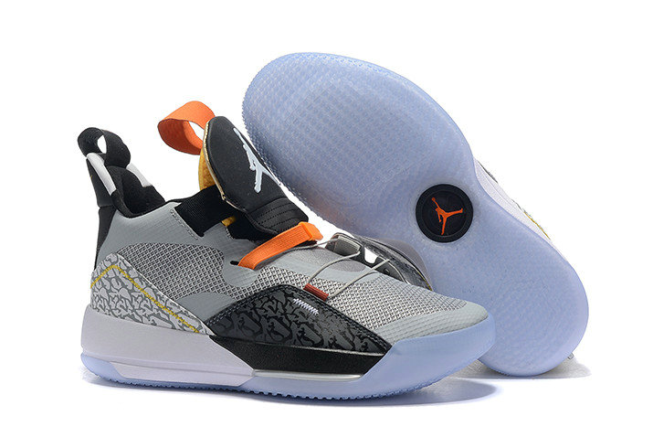 Cheap Nike Air Jordan 33 Elephant Print Black Wolf Grey-Orange-White For Sale On VaporMaxRunning