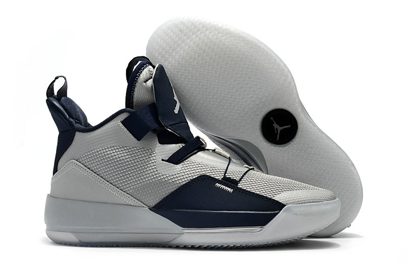 Cheap Nike Air Jordan 33 Georgetown Hoyas PEs Grey Navy Blue On VaporMaxRunning
