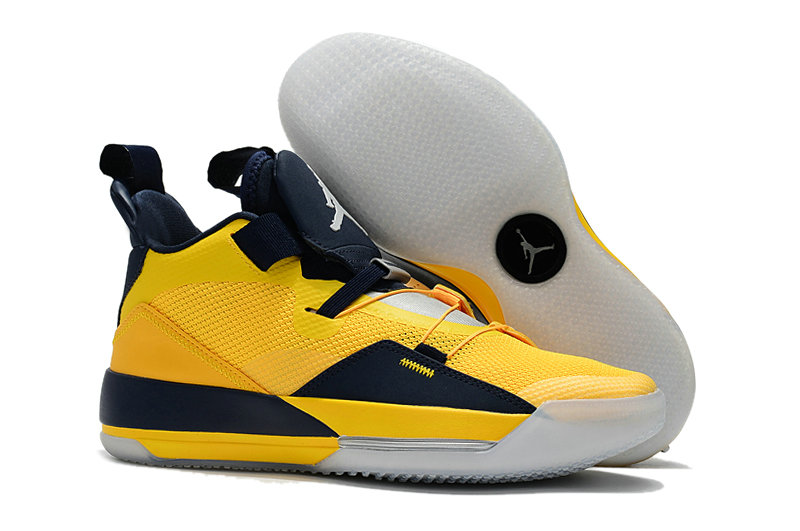 Cheap Nike Air Jordan 33 Michigan PE Yellow Navy Blue White On VaporMaxRunning