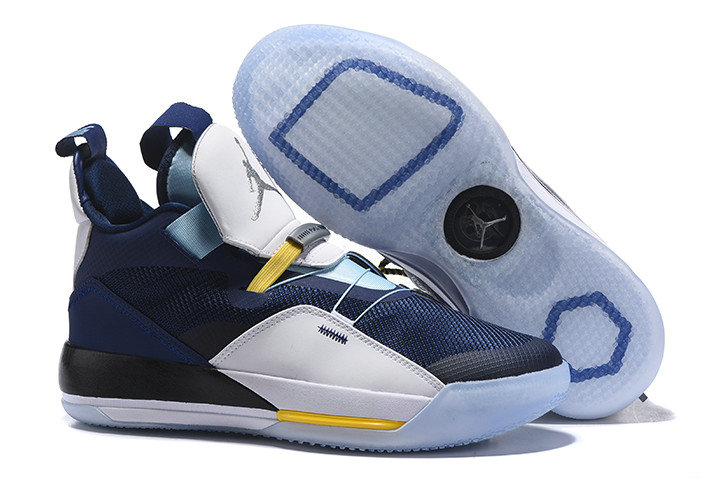 Cheap Nike Air Jordan 33 Navy Blue White-Mint Green-Yellow For Sale On VaporMaxRunning