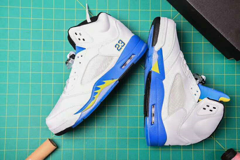 Cheap Nike Air Jordan 5 Retro Laney Basketball Shoes White Blue Yellow