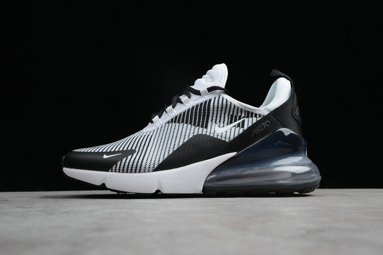 Cheap Nike Air Max 270 Flyknit White Black Grey Running Shoes