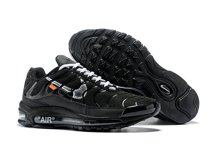 Cheap Nike Air Max 97 OFF-WHITE Running Shoes Silver Black White