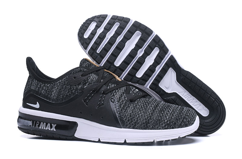 Cheap Nike Air Max Sequent Black Dark Grey White Running Shoes On VaporMaxRunning