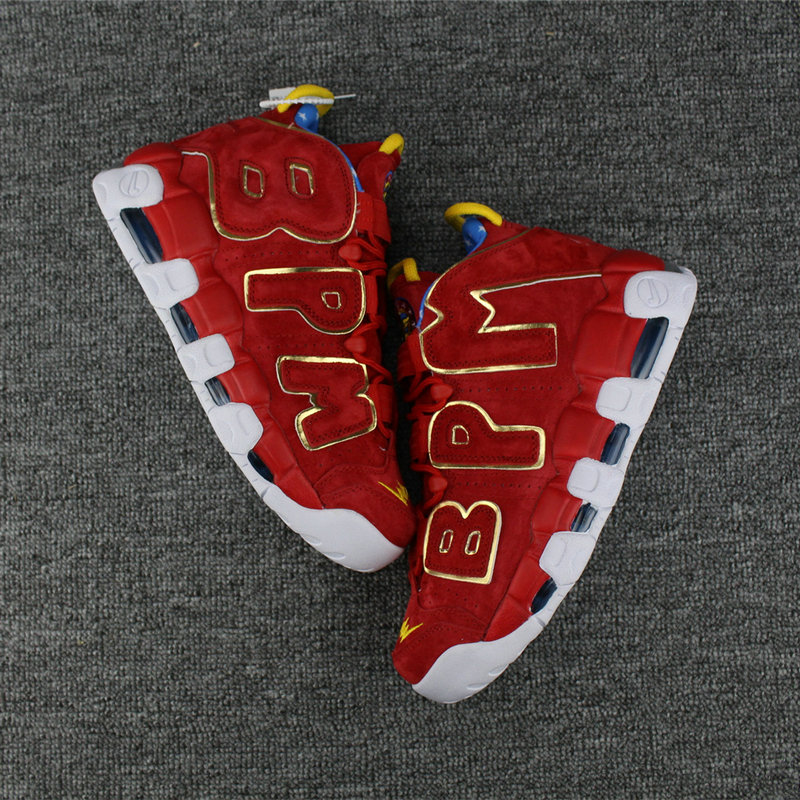 Cheap Nike Air More Uptempo Colorway Gold Red White Blue On VaporMaxRunning