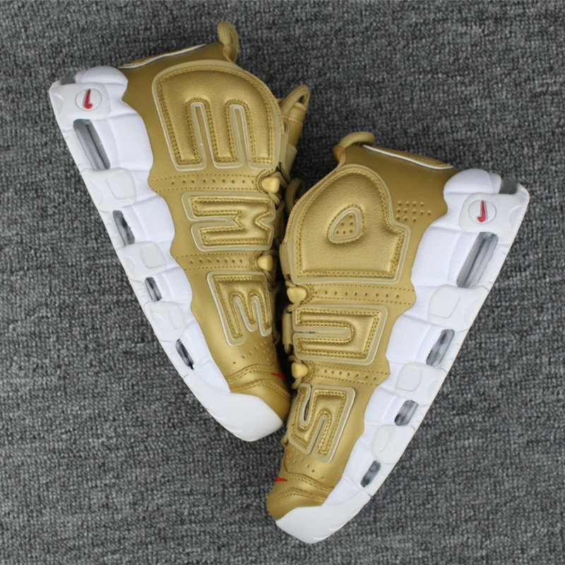 Cheap Nike Air More Uptempo Supreme White Red Gold On VaporMaxRunning