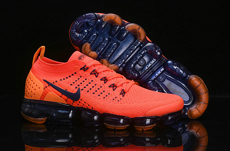 Cheap Nike Air VaporMax Flyknit 2.0 Shoes Orange Navy Blue