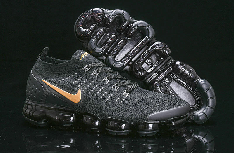 Cheap Nike Air Vapormax Flyknit 2018 V2 Black Gold 942842-203 On VaporMaxRunning