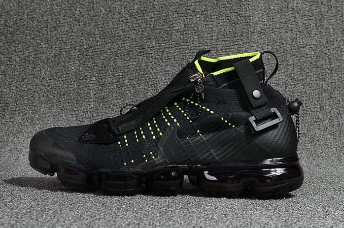 Cheap Nike Air Vapormax Flyknit Zipper Black Fluorescent Green On VaporMaxRunning