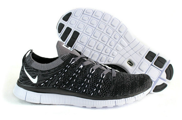 Cheap Nike Free Flyknit 5.0 Running Mens Shoes Black Grey White On VaporMaxRunning