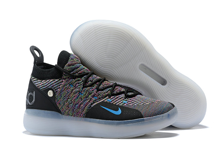 Cheap Nike KD 11 Multi-Color Flyknit Black Persian Violet-Bright Crimson-Chlorine Blue