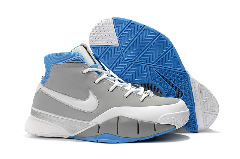 Cheap Nike Kobe 1 Protro Basketball Shoes Grey White Blue
