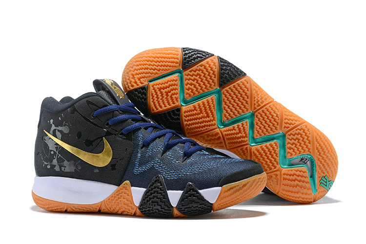 Cheap Nike Kyrie 4 Irving Basketball Shoes Gold Black Navy Blue White