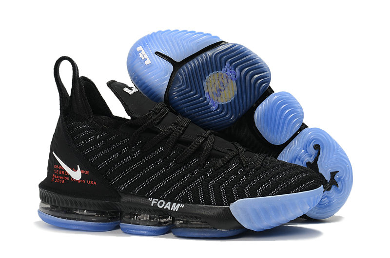 Cheap Nike Lebron 16 OFF-WHITE Black Blue On VaporMaxRunning