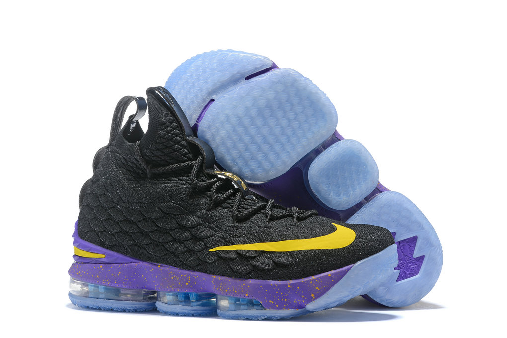 Cheap Nike Lebron James 15 Basketball Shoes Black Purple Yellow