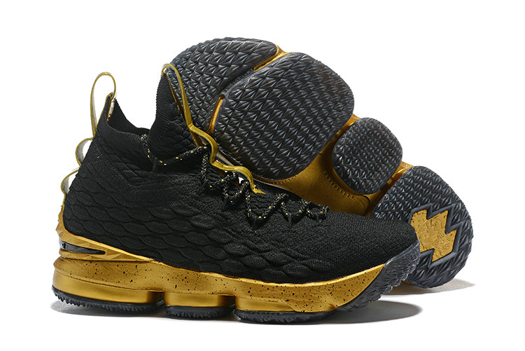 Cheap Nike Lebron James 15 Basketball Shoes Golden Black
