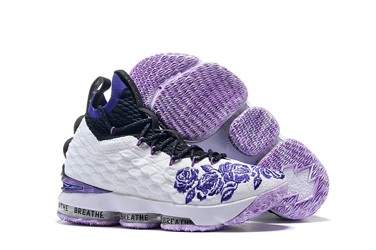Cheap Nike Lebron James 15 Basketball Shoes White Purple Blue Black