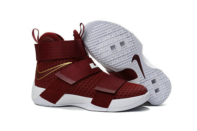 Cheap Nike Lebr On Soldier 10 X Gold Wine Red WhiteOn VaporMaxRunning
