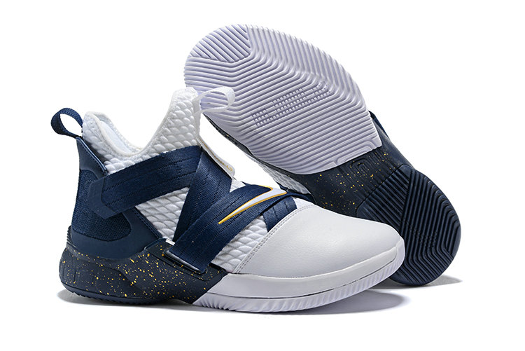 Cheap Nike Lebron Soldier 12 Navy Blue White Yellow On VaporMaxRunning