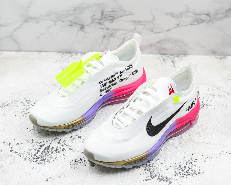 Cheap Nike OFF WHITE x Nike Air Max 97 Mens Running Shoes White Pink Black Gold