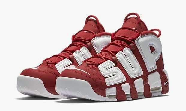 Cheap Nike X Supreme Air More Uptempo Red Black White On VaporMaxRunning