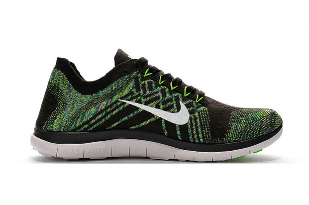 Cheap Sale Nike Free 4.0 Flyknit Running Shoes Black White Green On VaporMaxRunning