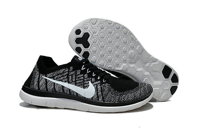 Cheap Sale Nike Free 4.0 Flyknit Running Shoes Black White Grey On VaporMaxRunning