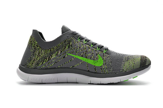 Cheap Sale Nike Free 4.0 Flyknit Running Shoes Cool Grey Green White On VaporMaxRunning