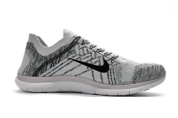 Cheap Sale Nike Free 4.0 Flyknit Running Shoes Grey Black White On VaporMaxRunning
