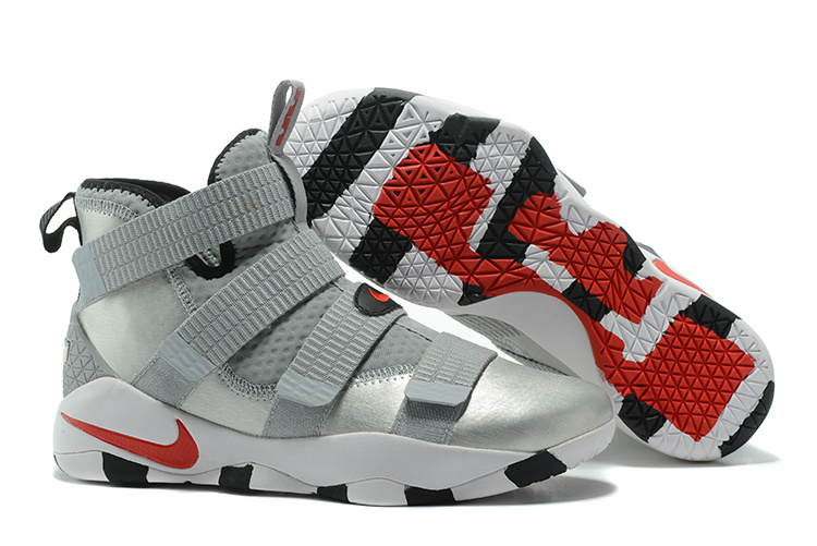 Lebron Soldier Sneakers Cheap Nike Lebron Soldier 11 Silver Red Black White On VaporMaxRunning