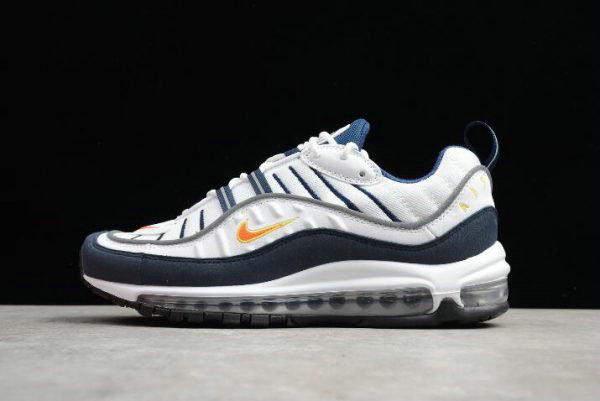 Cheap Mens Nike Air Max 98 OG White Blue Orange Metallic Silver 640744-104 On VaporMaxRunning
