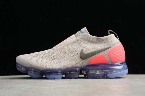 Cheap Mens and WMNS Nike Air VaporMax Flyknit Moc 2 Moon Particle Solar Red-Indigo Burst AH7006-201 On VaporMaxRunning
