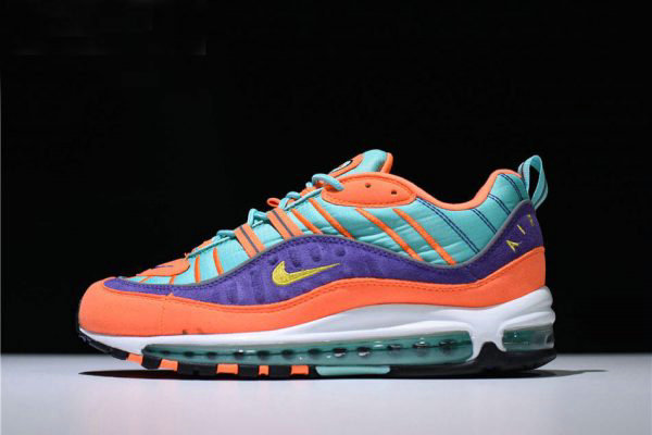 Cheap Mens and Womens Nike Air Max 98 QS Cone Tour Yellow-Hyper Grape 924462-800 On VaporMaxRunning