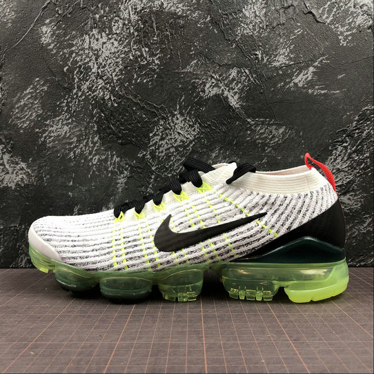 NIKE AIR VAPORMAX FLYKNIT 3.0 AJ6900-100 Black Grey Fluorescent Green Vert Noir Gris On VaporMaxRunning