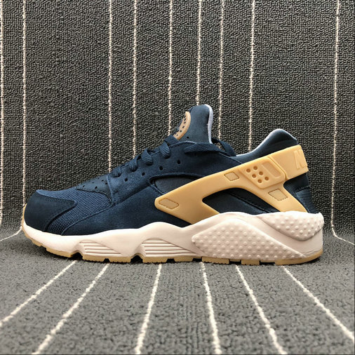 NIKE Air Huarache Run SE 852628-401 ARMORY NAVY GUM YELLOW MARINE ARMURE JANUE GOMME