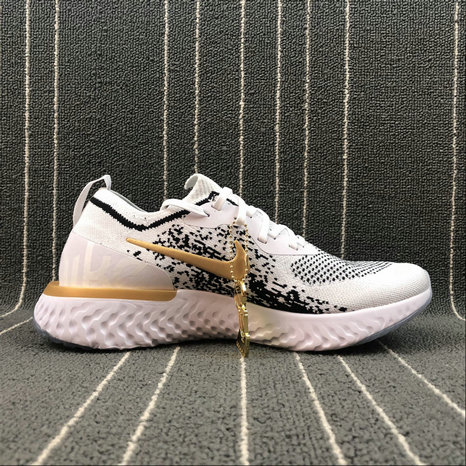 NIKE EPIC REACT FLYKNIT AQ0067-071 WHITE BLACK GOLD BLANC NOIR OR On VaporMaxRunning