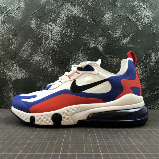 Cheap NIKE REACT AIR MAX AQ9087-106 White Royal Blue Red Blanc Royal Bleu Rouge On VaporMaxRunning
