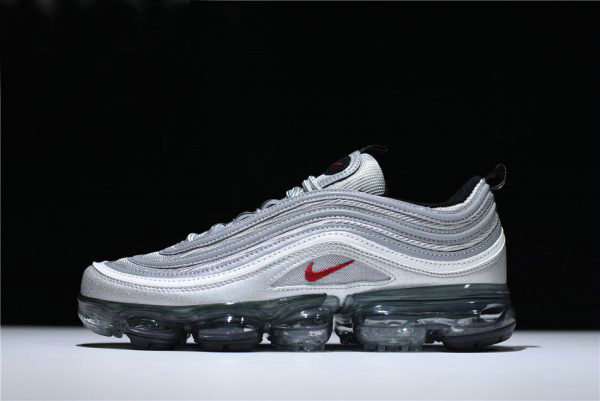 Cheap New Air VaporMax 97 Silver Bullet Metallic Silver Varsity Red-White-Black AJ7291-002 On VaporMaxRunning