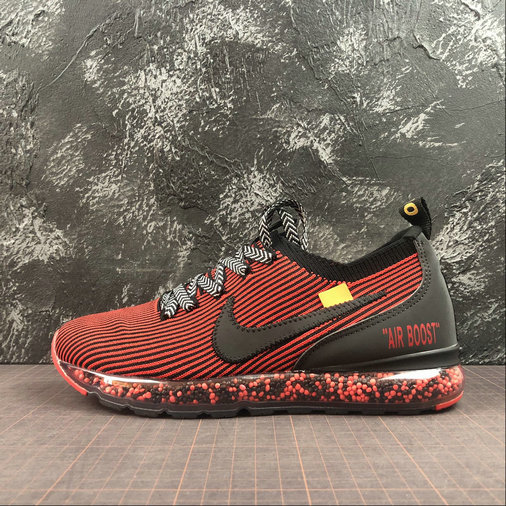 Nike Air Boost Flyknit x Off-White Mens Womens Black Bright Dark Red Noir Rouge Fonce Brillant AJ6900-601 On VaporMaxRunning