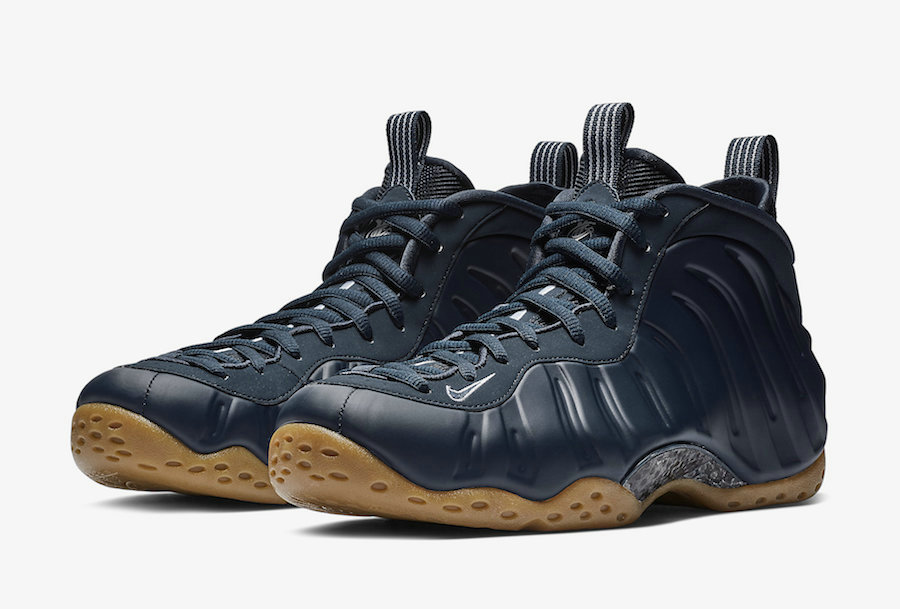 Nike Air Foamposite One Midnight Navy Gum Light Brown-White-Midnight Navy 314996-405 On VaporMaxRunning